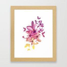 Flower Butterflies Framed Art Print