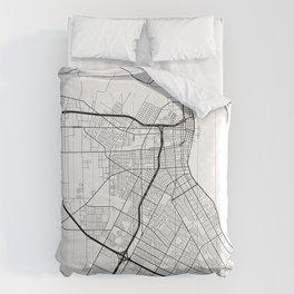 Corpus Christi Map, USA - Black and White Comforters