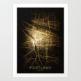 portland Oregon usa city night light map Art Print