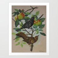 Still Life Pair of Birds Art Print
