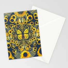 YELLOW MONARCH BUTTERFLY & GREY MODERN FLORAL ART Stationery Cards