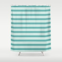Turquoise Beach Stripes Shower Curtain