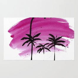 Magenta palm trees Rug