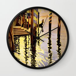 Venice and Lido Vintage Travel Poster Wall Clock