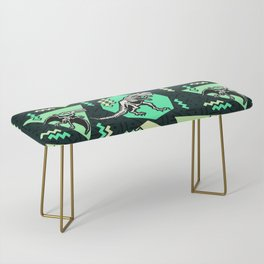 90's Dinosaur Skeleton Neon Pattern Bench