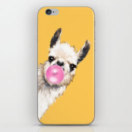 Bubble Gum Sneaky Llama in Yellow iPhone Skin