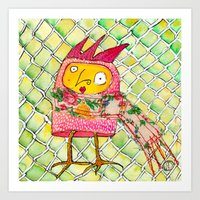 chicken Art Prints featuring Chicken by Dawn Patel Art