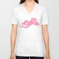 preppy V-neck T-shirts featuring Kawaii steampunk octopus kraken squid sea monster vintage takoyaki cute pink preppy nautical print by iGallery
