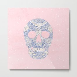 Modern blue ornate skull floral lace mandala illustration pink watercolor Metal Print
