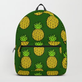 Tropical Pineapples on Green Backpack