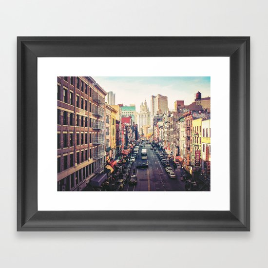 New York City Above Chinatown Framed Art Print
