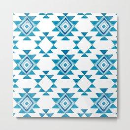 Turquoise Aztec Metal Print