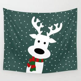 Reindeer in a snowy day (green) Wall Tapestry