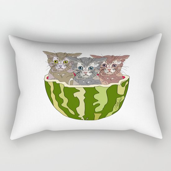 Watermelon Cats Rectangular Pillow