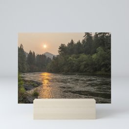Fire Sunrise on McKenzie River Mini Art Print