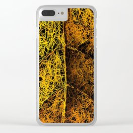 rotten yellow leaf texture Clear iPhone Case