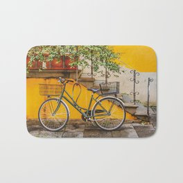 Bicycle Parked at Wall, Lucca, Italy Bath Mat
