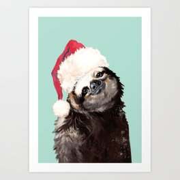 Christmas Sloth in Green Art Print