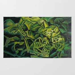 A Skeleton Embracing A Zombie Halloween Horror Rug