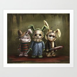 Horror Bunnies - Parody of Jason, Freddy and Michael Myers Art Print
