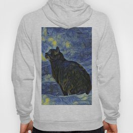 Indigo martian cat in Vincent Van Gogh impressionist painting style. Hoody