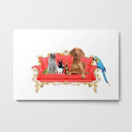 Animals Family - red Baroque couch  Metal Print