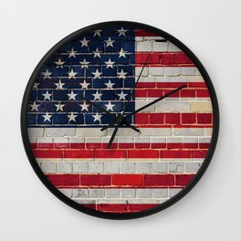 America flag on a brick wall Wall Clock