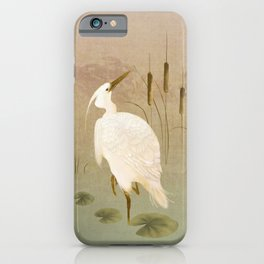 White Heron in Bulrushes iPhone Case