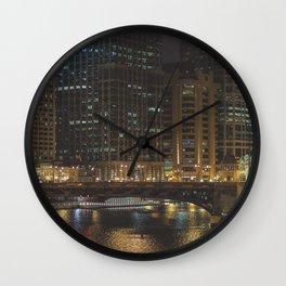 Chicago Skyline Nightshot Wall Clock