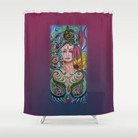 chakra Shower Curtains featuring Chakra Mandla by Harsh Malik