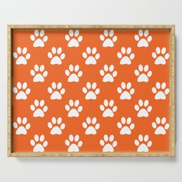 Orange and white paw prints pattern Serving Tray