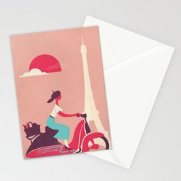 French girl on a Scooter Stationery Cards