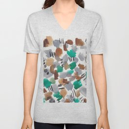 180803 August Abstract 2  Colorful Abstract   Watercolors Brush Patterns Unisex V-Neck
