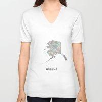 alaska V-neck T-shirts featuring Alaska map by David Zydd