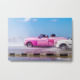 Waves and Classic Cars of the Malecón - 5 Metal Print