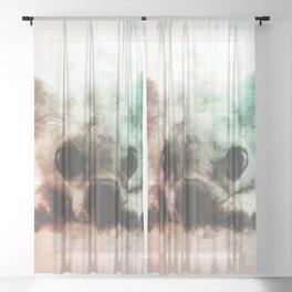 Chihuahua Digital Watercolor Painting Sheer Curtain
