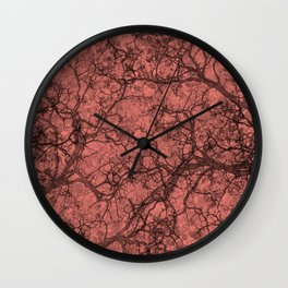 Coral Pink Hunting Camo Pattern Wall Clock