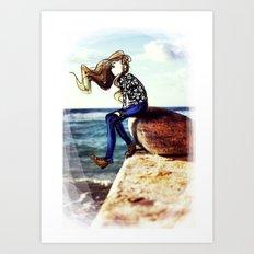 Girl on a stone Art Print