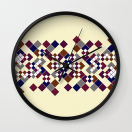 Abstract geometric pattern. Small colored squares on a beige. Wall Clock