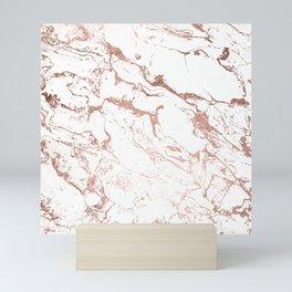 Modern chic faux rose gold white marble pattern Mini Art Print