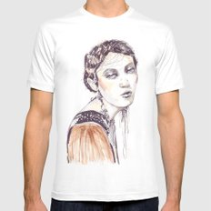 Fashion illustration with golden watercolors White Mens Fitted Tee MEDIUM