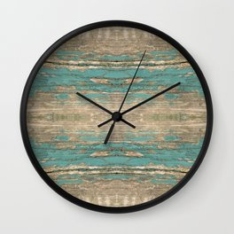 Rustic Wood - Beautiful Weathered Wooden Plank - knotty wood weathered turquoise paint Wall Clock