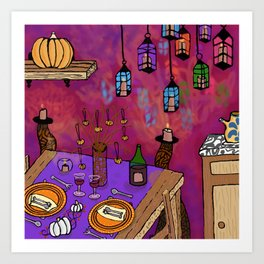 Autumn Table in Candlelight Art Print