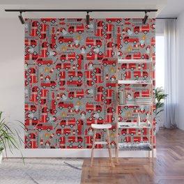 Kids Firetruck Dalmatian Dog Firefighter Pattern Gray Wall Mural