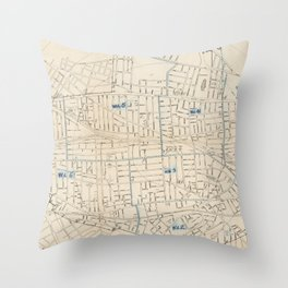 Vintage Map of Somerville MA (1910) Throw Pillow