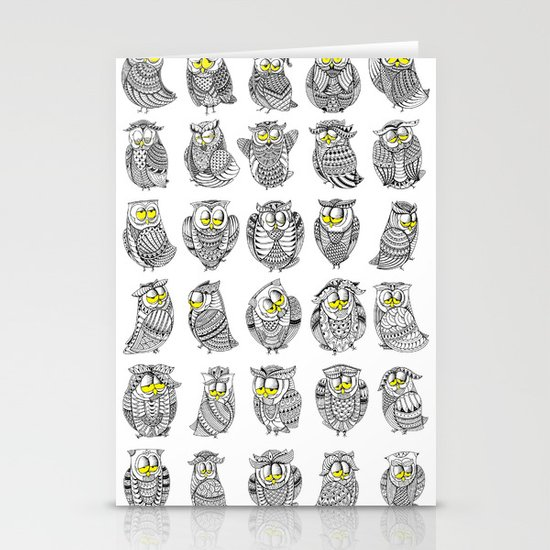 Sleepy Owls Stationery Cards