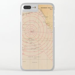 Vintage Hawaii Seismic Tsunami Wave Map (1947) Clear iPhone Case