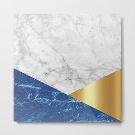 Geometric White Marble - Blue Granite & Gold #188 Metal Print
