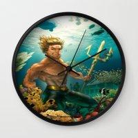 aquaman Wall Clocks featuring Aquaman Black Lagoon (Dark Water Version)  by Brian Hollins art