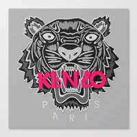 kenzo Canvas Prints featuring KENZO Tiger, pink letters by cvrcak